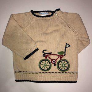 JANIE AND JACK Beige Cream Bicycle Sweater 18-24M